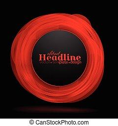 abstract, vector, zwarte achtergrond, cirkel, rood
