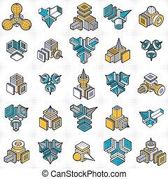 Abstract vectors, 3D shapes set.