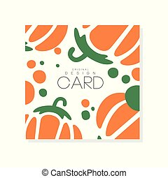 Abstract vegetable card with colorful pumpkin. Organic food. Healthy nutrition. Isolated vector design for product advertising or grocery store poster