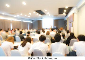 abstract, verdoezelen, handelsconferentie, en, presentatie