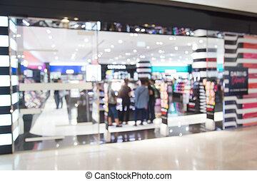 abstract, verdoezelen, schoonheidsmiddelen, winkel, in, het winkelen wandelgalerij, voor, achtergrond