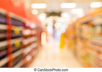 abstract, verdoezelen, supermarkt, in, warenhuis