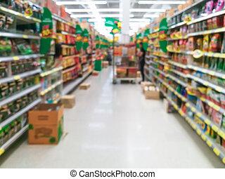 abstract, verdoezelen, supermarkt, voor, achtergrond