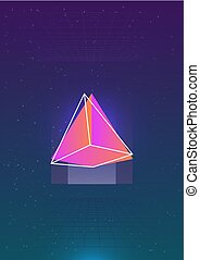 Abstract vertical backdrop with glowing bright colored cosmic pyramid and its outline against outer space with stars and grids on background. Colorful vector illustration in cool modern style.
