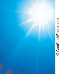Abstract vertical background. Asymmetric light burst with the centre in the upper right third. No transparencies.
