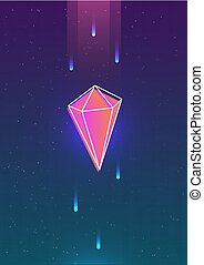 Abstract vertical background with bright colored glowing crystal and its outline against outer space or night sky with stars on background. Colorful vector illustration in contemporary style.