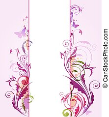 Abstract vertical floral banner