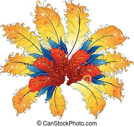 Abstract vibrant feathers brazil carnaval cabaret decorative element..