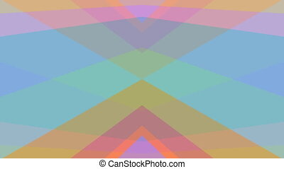 Abstract video background, kaleidoscopic pastel colored triangles in symmetrical movement