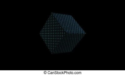 Abstract video background with three 3d wireframe cubes moving on black area, changing colors, zooming