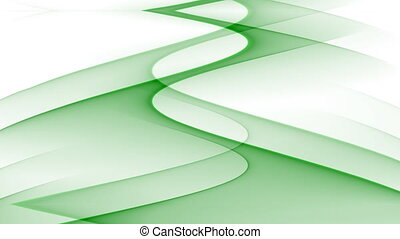 Abstract video bakcground with green wavy curves on white...