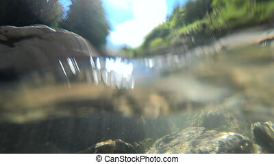 Abstract view Flowing water, skylight of sun through water, stones lying at bottom, underside of surface of water stream. Sun glare moves over surface of stones. Nature landscape, natural background.