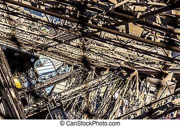 abstract view of details of Eiffel Tower in Paris, France