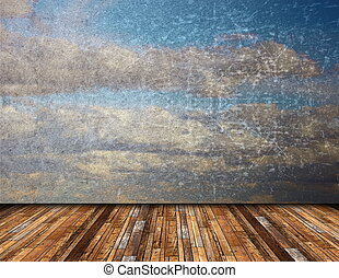 abstract view of distressed sky from terrace