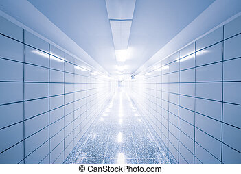 Abstract view of empty hallway with geometric lines