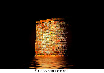 abstract view of stone pillar of the old bridge