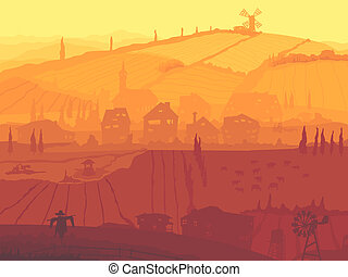 Abstract village in sunset.