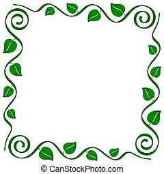 abstract ornamental stylized vine frame with leaves
