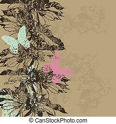 Abstract vintage background with flowers and butterflies. Vector