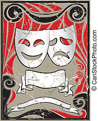 Abstract vintage background with theater masks and banners