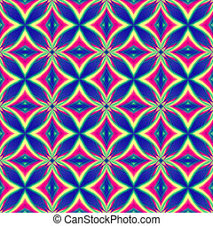 abstract vintage blue red yellow background, retro oriental ornament kaleidoscope with circles