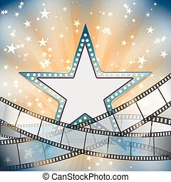 abstract vintage cinema background with blue metallic star