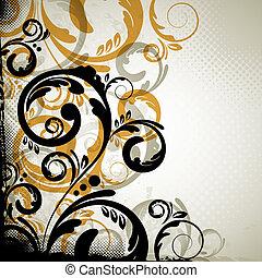 abstract vintage floral design