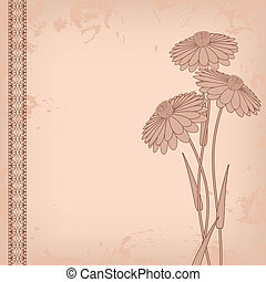 abstract vintage flowers - vintage flowers on abstract...