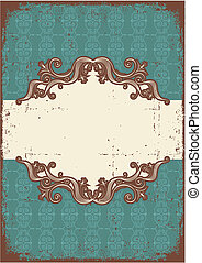 Abstract vintage frame with vignettes for text on old paper texture