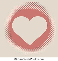 Abstract vintage halftone vector  heart frame with beige background.