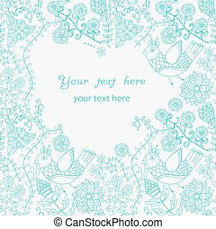 Abstract vintage illustration for design.Beautiful frame, doodle