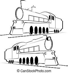 Abstract vintage locomotives