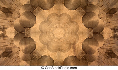 Abstract vintage motion symmetric kaleidoscope background in warm tones