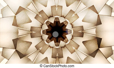 Abstract vintage motion symmetric kaleidoscope background with bokeh in warm tones