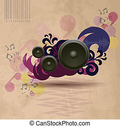 Abstract vintage music background with speakers