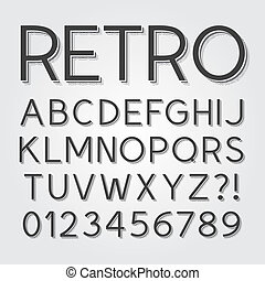 Abstract Vintage Retro Font and Num