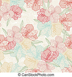 Abstract vintage seamless flower pattern with orchid.