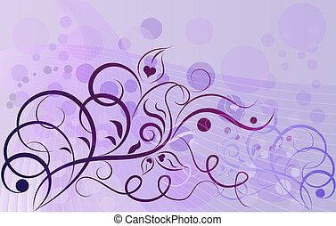 Abstract violet floral vector background with ccopy space.