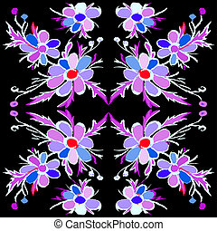 Abstract violet flowers on a black background illustration
