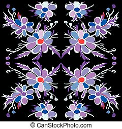Abstract violet flowers on a black background vector illustration
