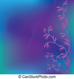 Abstract violet - green background with decorative leaves