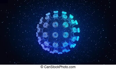 Abstract virus cell flowing animation. Glowing blue particle formation of cell 3d model.