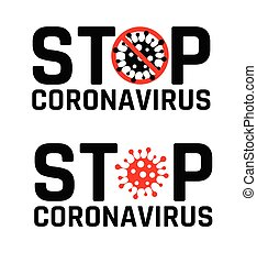 Abstract virus strain model Novel coronavirus 2019-nCoV is crossed out with red STOP sign. Sign caution coronavirus. Stop coronavirus.