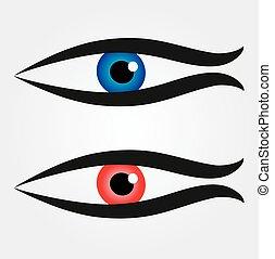 abstract, visje, met, groot, oogappel, in