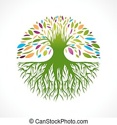 Abstract Vitality Tree - Illustration of Multicolored Round...