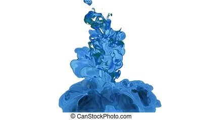 Abstract vivid blue Ink in water or smoke for effect and...