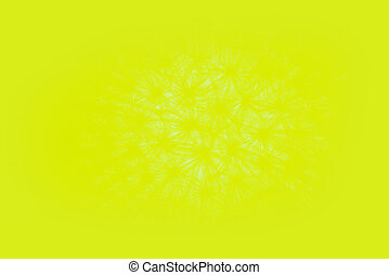 Abstract vivid yellow blurred background with dandelion pattern