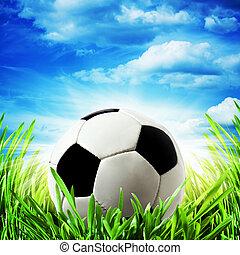abstract, voetbal, achtergronden, onder, heldere zon