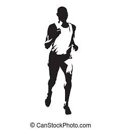 abstract, vrijstaand, silhouette, rennende , vector, voorkant, man, uitvoeren, marathon, aanzicht