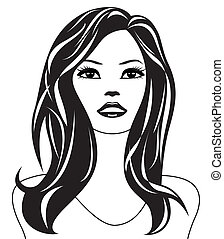 abstract, vrouw, zwart wit
